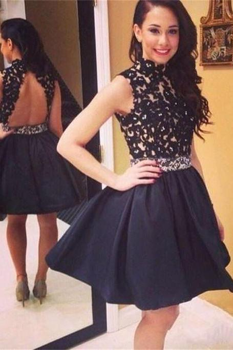 Charming Black Homecoming Dress,Short Homecoming Dress 2016,Homecoming Dress for Juniors,High Neck Homecoming Dress,Backless Homecoming Dress,Appliques Satin Homecoming Dress,Homecoming Dress Custom made ,Homecoming Dress Plus Size,Short Prom Party Dress,Graduation Dress,Cocktail Dress,Short Evening Gowns