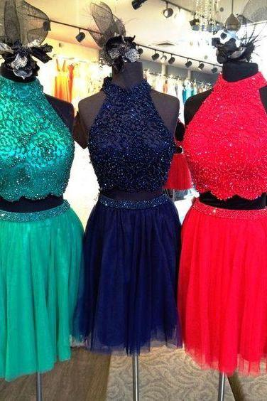 Halter 2 Pieces Homecoming Dress Short ,Floral Beading Homecoming Dress,Red Homecoming Dress ,Navy Blue Homecoming Dress,Short Homecoming Dress for Juniors,Emerald Green Homecoming Dress ,High Neck Homecoming Dress,Homecoming Dress Plus Size,Short prom Dress,Prom Dress for Juniors ,8th Grade Dance Dress,Graduation Dress,Cocktail Dress,Short Party Dress,Formal Evening Gowns Short
