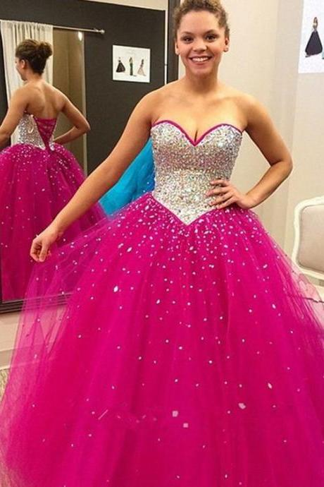 hot pink prom dress, sweetheart Prom Dress, A-line Prom Dress, long prom Dress, Prom Dress 2017, tulle Evening Dress, formal Prom Gowns