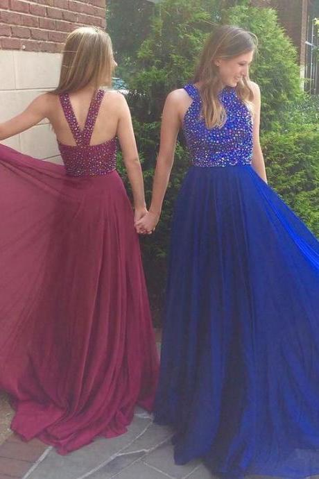 High Quality Prom Dress,Beaded Chiffon Prom Dress,Long Graduation Dress,formal prom Dress,Prom Dress 2017,A line Evening Dress,Modest Evening Gowns