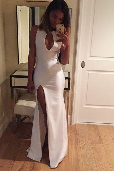 white long Prom Dress,High Quality satin Prom Dress,sexy Prom Dress 2017,side slit Prom Gowns,charming Evening Dress,Formal prom Dress