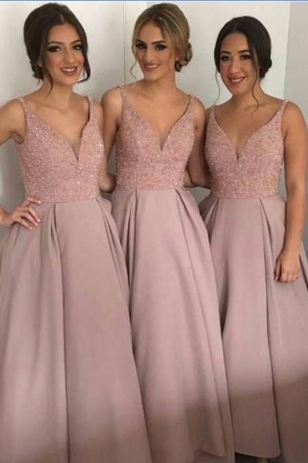 long A-line bridesmaid dress, dusty rose bridesmaid dress,beaded top bridesmaid Dress, v-neck bridesmaid dress, discount Bridesmaid Dress