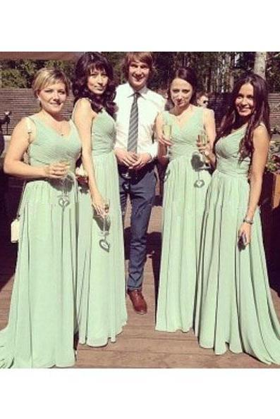 green bridesmaid dress, long bridesmaid dress,chiffon bridesmaid Dress, v-neck bridesmaid dress, discount Bridesmaid Dress