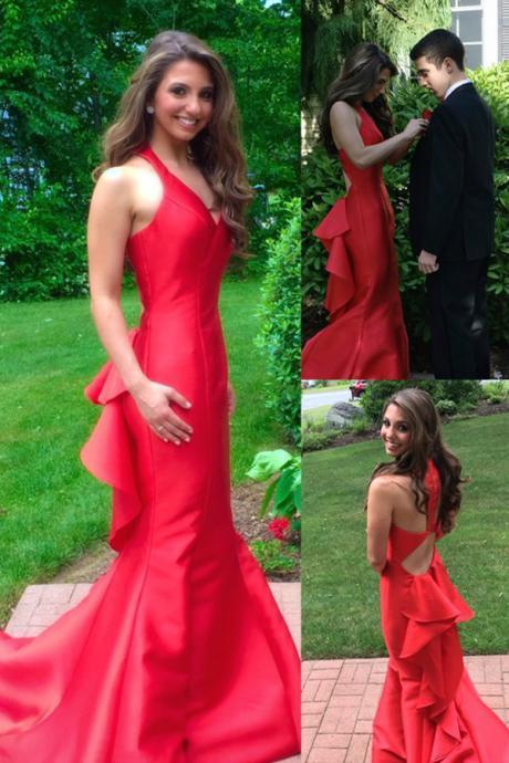 red prom dress, long Prom Dresses, mermaid prom dress, cheap prom dress,formal evening dress, charming evening dress