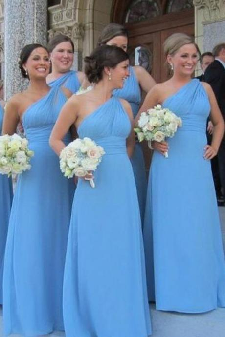 one shoulder bridesmaid dress, long bridesmaid dress,blue bridesmaid Dress, chiffon bridesmaid dress, discount Bridesmaid Dress