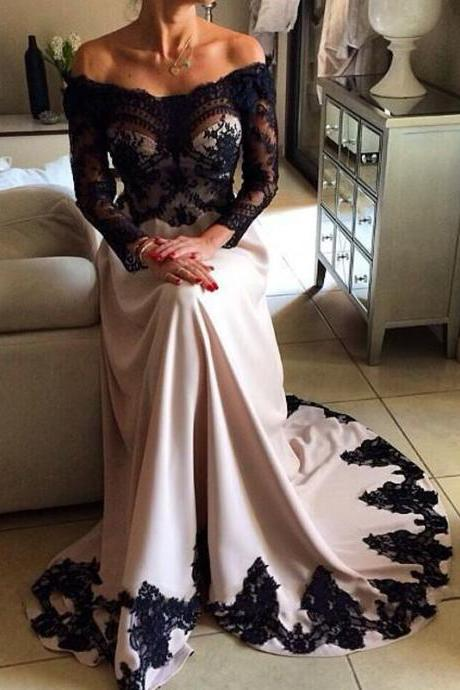 Black Lace Appliqued Evening Dresses Chiffon Formal Party Gowns Long Sleeve Prom Dress