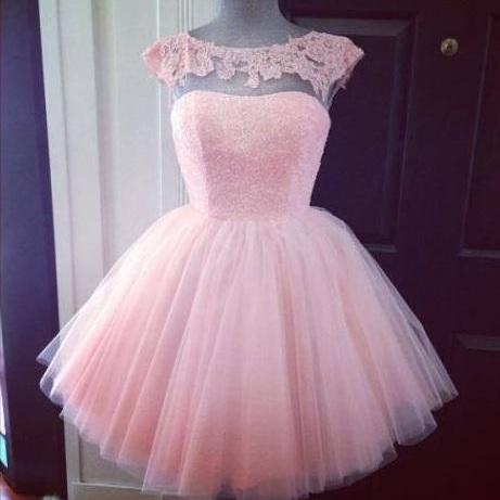 Cap Sleeve Prom Dress, Pink Prom Dress, Cute Prom Dress, Knee-Length Prom Dress, Tulle Prom Dress, Princess Prom Dress, Homecoming Dress, Short Prom Dress